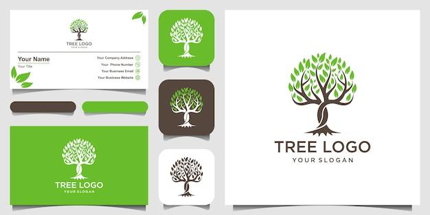 나무. 로고 요소. 그린 가든 로고 템플릿 및 명함 디자인