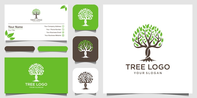 Tree  . logo  elements. green garden logo template and business card design