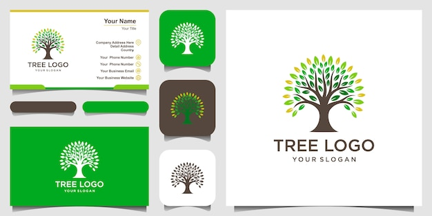 Tree logo  elements. green garden  logo template and business card design