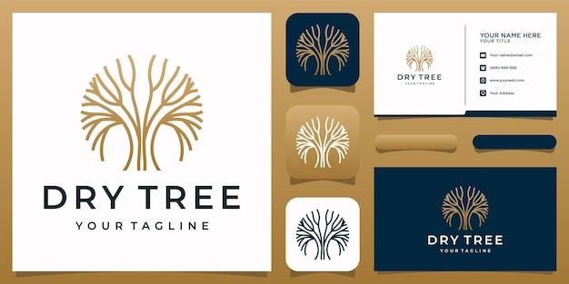 Tree logo green garden template and business card premium vector
