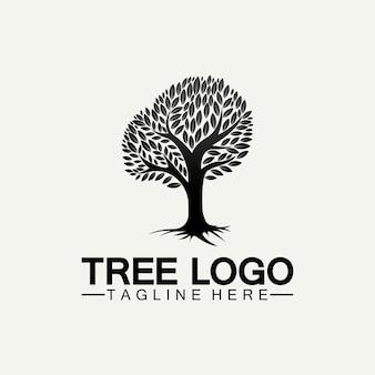 나무 로고 아이콘 벡터 일러스트 디자인입니다. 나무 로고의 나무 템플릿과 생명 디자인 그림의 뿌리 나무의 벡터 실루엣