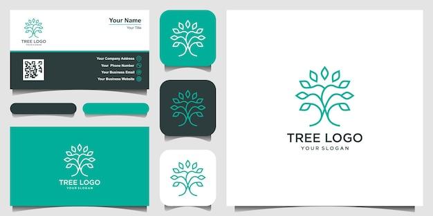 Tree logo icon with line art style logo design elements green garden vector logo