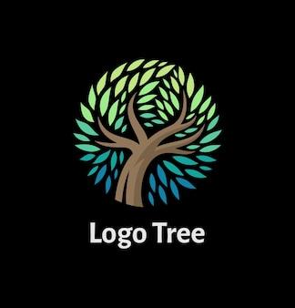 円形のモダンなデザインの木のロゴ