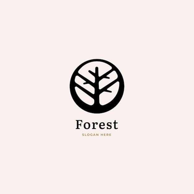 Дерево логотип в негативном пространстве.