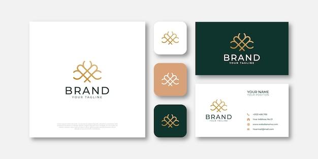 Tree logo in luxury gold line art style