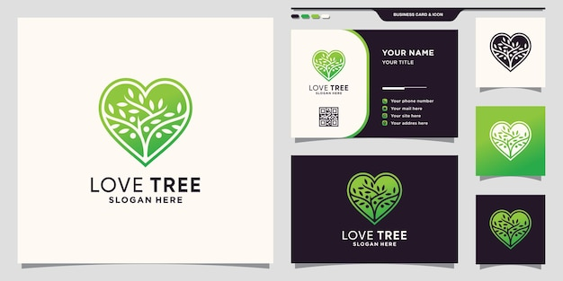 Tree logo template with heart concept and business card design premium vector