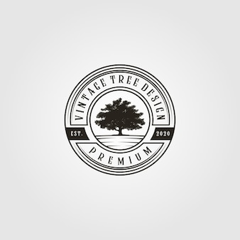 Tree logo vintage  in emblem illustration