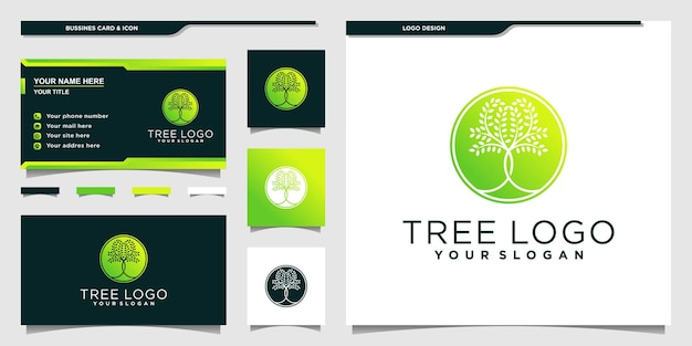 Tree logo with circle neagtive space concept and business card design premium vector