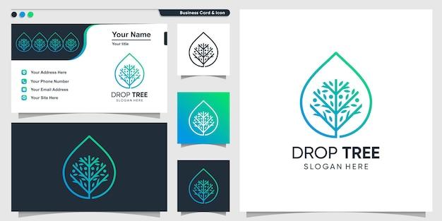 Логотип дерева с каплей в стиле арт premium векторы