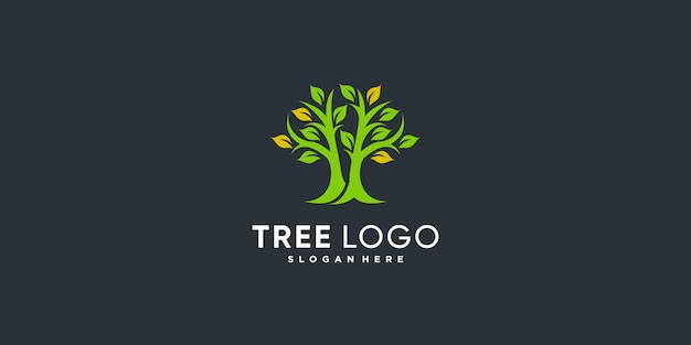 Логотип дерева с золотой абстрактной концепцией premium векторы