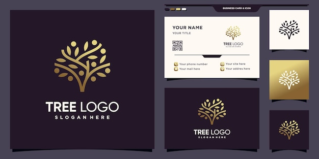 Tree logo with golden gradient style color and business card design premium vector