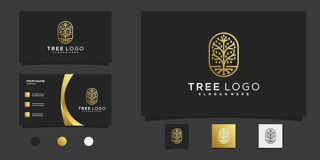 Tree logo with golden line art style and business card design premium vector