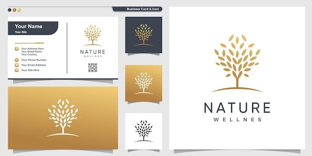 Логотип дерева с золотой естественной концепцией и шаблоном дизайна визитной карточки premium векторы