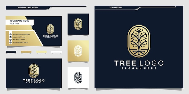 Tree logo with golden negative space and business card design premium vector