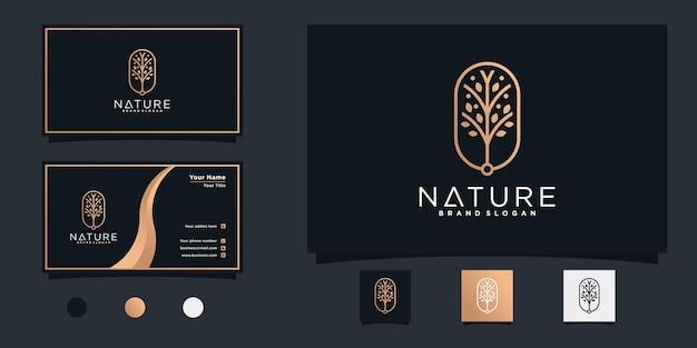 Логотип дерева с золотыми градиентными цветами и визитная карточка premium vecto