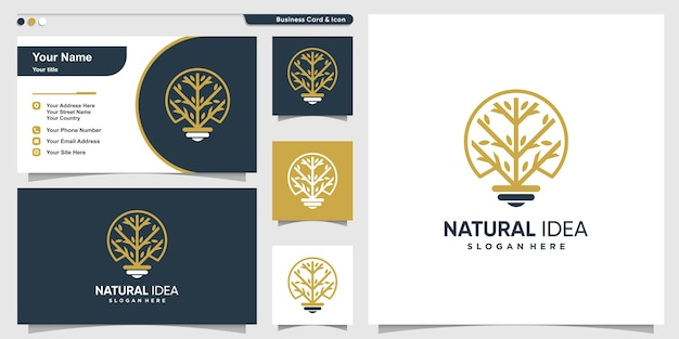 Tree logo with line art style and business card design template, tree, idea, smart