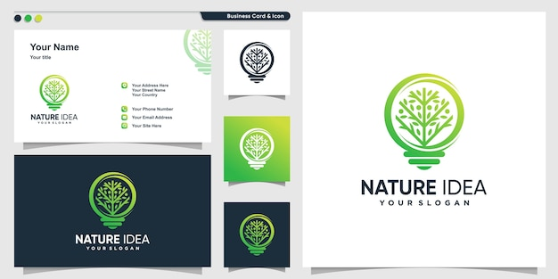 Tree logo with modern gradient shape style and business card design template, tree, idea, smart
