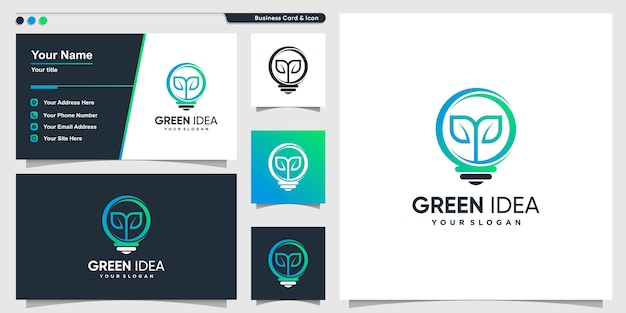 Tree logo with modern gradient style and business card design template, gradient, nature, smart