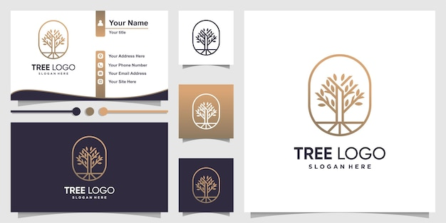 Tree logo with modern line art style and business