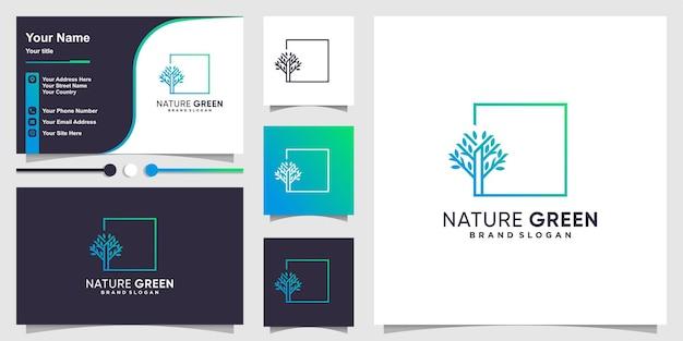 현대 사각형 라인 아트 개념과 명함 디자인 서식 파일이 있는 나무 로고 premium 벡터