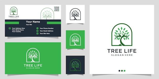 Логотип дерева с современной уникальной концепцией и дизайном визитной карточки premium векторы