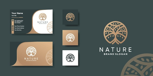 Tree logo with modern unique concept and business card design premium vector