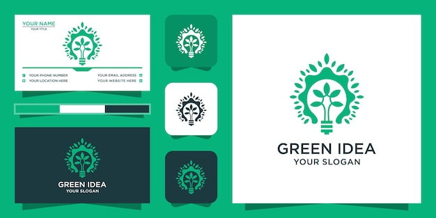 Tree logo with smart green style and business card design