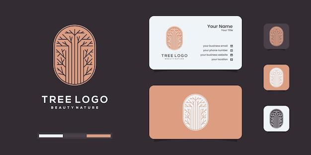 ユニークなコンセプトとビジネスロゴのインスピレーションを持つ木のロゴ