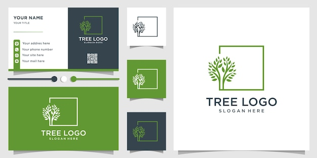 ユニークなコンセプトとビジネスを持つ木のロゴ