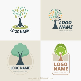 Tree logos collection in hand drawn style