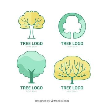 Collezione di loghi dell'albero in mano disegnato stile