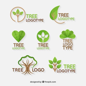 Tree logos collection in flat style