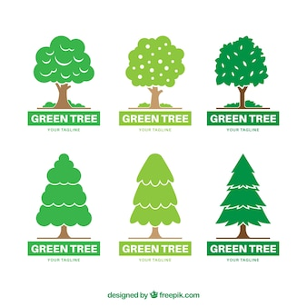 Коллекция логотипов деревьев в стиле ручной работы