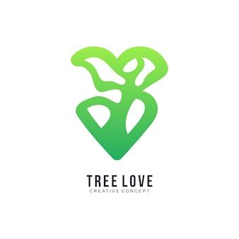 나무 사랑 그라데이션 다채로운 로고 템플릿