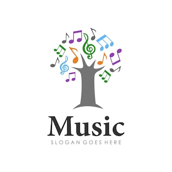 Tree of melody logo design template