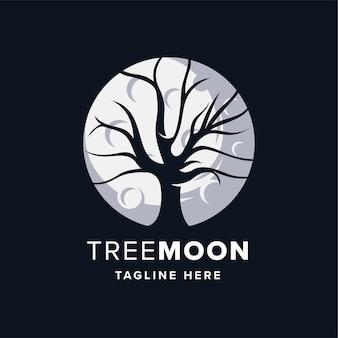 Шаблон оформления логотипа дерево луна