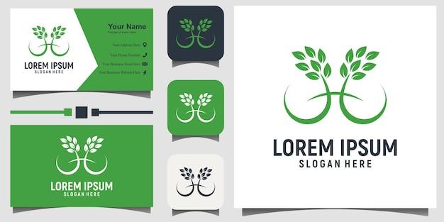 名刺テンプレートの背景を持つツリー自然生活ロゴデザインベクトル