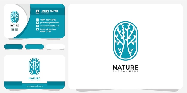 Tree nature logo design concept. line tree in the circle logo design template with business card