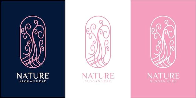 Tree nature logo design. flower nature logo design inspiration