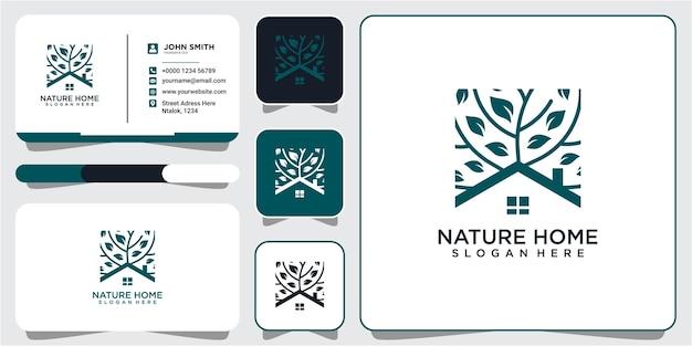 명함으로 나무 자연 부동산 로고 디자인입니다. 나무 부동산 로고 디자인
