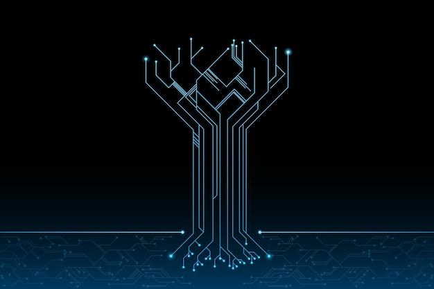 미래의 컨셉 디자인에서 미래의 나무