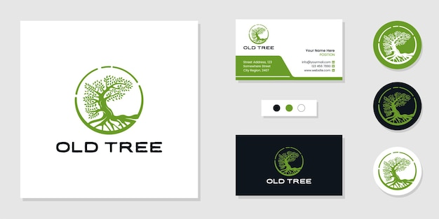 生命の木のロゴと名刺デザインテンプレートのインスピレーション