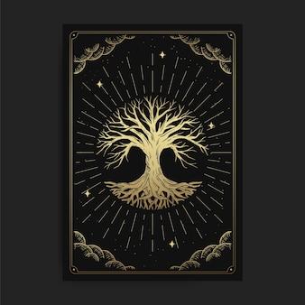 命の木。魔法のオカルトタロットカード、難解な自由奔放に生きるスピリチュアルタロットリーダー、マジックカード占星術、スピリチュアルまたは瞑想の描画。