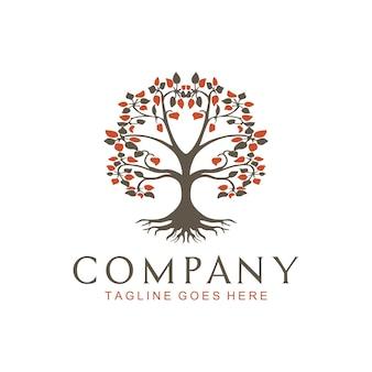 生命の木オークのガジュマルの葉とルートシールのエンブレムスタンプのロゴ