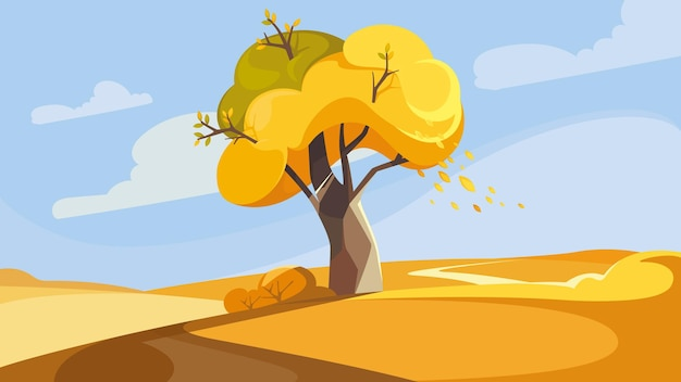秋の季節の丘の上の木。美しい自然の風景。