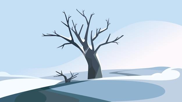 冬の丘の上の木。美しい自然の風景。