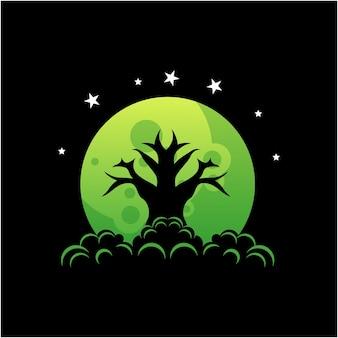 Дерево на луне силуэт дизайн логотипа
