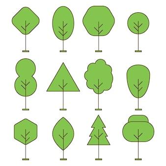木の輪郭の森の細い線のベクトルアイコンを設定します。線形スタイルのイラストで緑の植物のコレクション。モミの庭の天然木のシルエット。フラットコンターネイチャーコレクション。