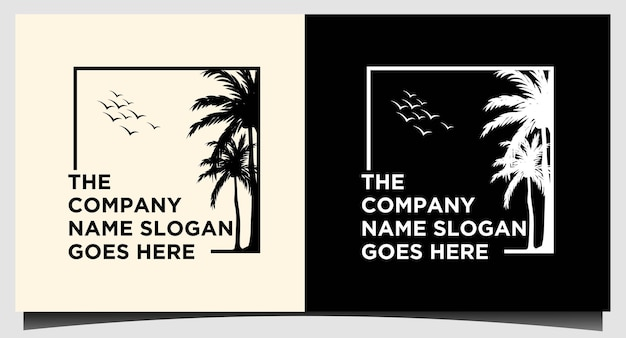 Tree palm logo design template