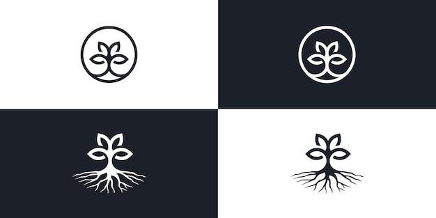 나무 식물 라인 아트 monoline 로고 벡터 아이콘